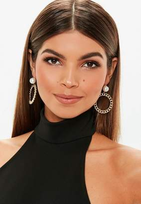 Missguided Gold Look Chain Pearl Hoop Earrings