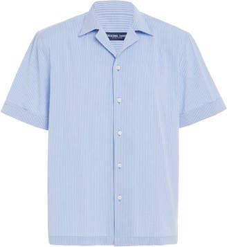 Frescobol Carioca Seersucker Camp Collar Button-Up Shirt
