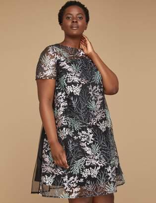 Lane Bryant Embroidered Mesh Swing Dress