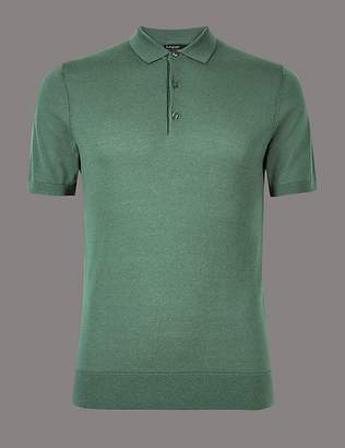 Marks and Spencer Silk Rich Knitted Slim Fit Polo