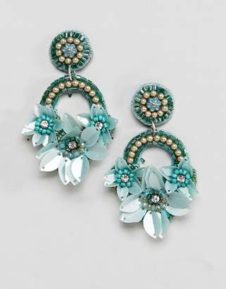 Asos Design Pretty Embroidered Floral Bead Earrings