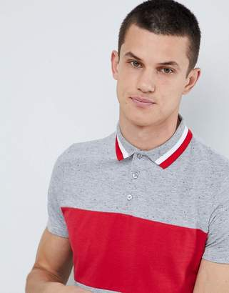 Asos DESIGN polo shirt with contrast panelling in interest nepp fabric