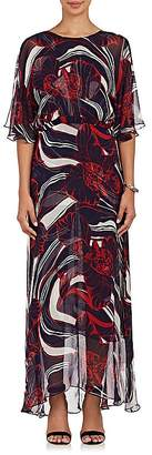 Lulu Warm Women's Floral Silk Plissé Chiffon Maxi Dress