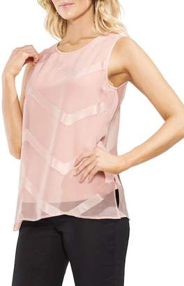 Vince Camuto Sheer Chevron Tunic Top