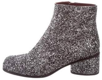 Marc Jacobs Glitter Square-Toe Ankle Boots