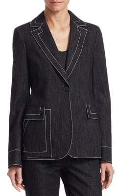Akris Contrast Stitch Denim Blazer