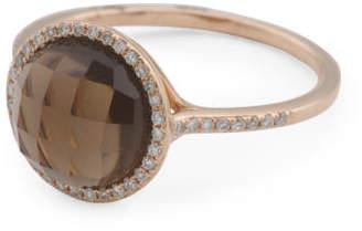 14k Rose Gold Diamond And Smoky Quartz Halo Ring