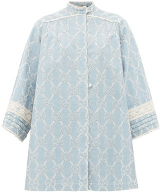 Gucci Gg Broderie Anglaise Cotton Mini Dress - Womens - Blue White