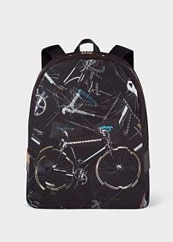 Paul Smith Men's 'Paul's Bike' Print Canvas Backpack