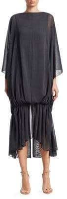 Jacquemus Gadir Oversized Ruched Chiffon Midi Dress