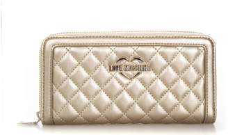 Love Moschino Gold Color Quilted Faux Leather Wallet