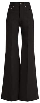 Kwaidan Editions - Flared Wool And Cotton Blend Jeans - Womens - Black