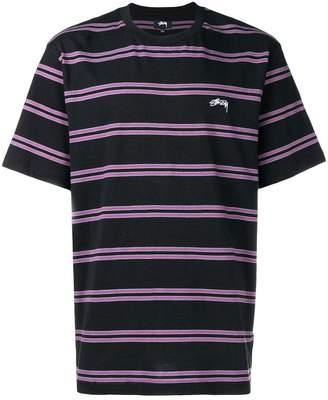 Stussy horizontal striped logo T-shirt