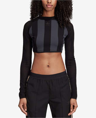adidas Mesh-Sleeve Cropped Top