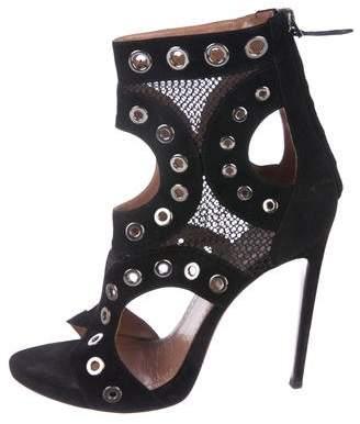 Alaia Grommet-Embellished Cage Sandals