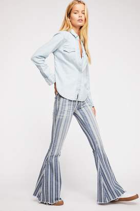 We The Free Denim Super Striped Flare Jeans