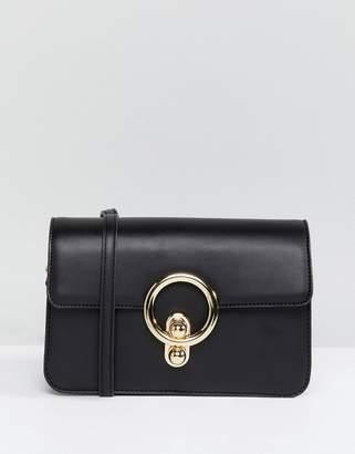 Glamorous Black Ring Detail Cross Body Bag
