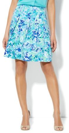 New York & Co. Floral-Print Pleated Skirt