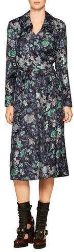 Burberry Burberry Floral-Print Silk Robe Dress