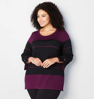 Avenue Stripe Grommet Cuff Top