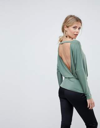 Asos Design Batwing Top with Open Back in Slinky