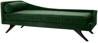 One Kings Lane Sansa Right-Arm Chaise - Emerald Velvet