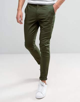 Asos DESIGN super skinny chinos in dark khaki