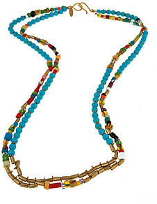 Wendy Mink Multi Color African Beaded Necklace