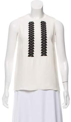Derek Lam Embroidered Silk Top White Embroidered Silk Top
