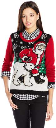 Co Christmas Ugly Sweater Ugly Christmas Sweater Juniors Light-Up Santa and Polar Bear Pullover