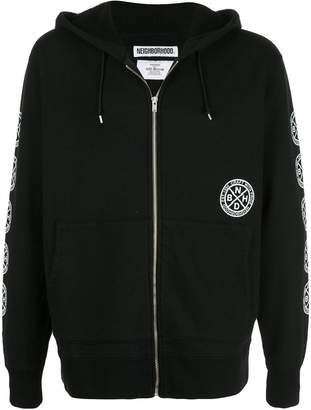 Neighborhood logo patch zip hoodie