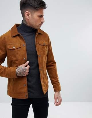 Pull&Bear Suede Jacket In Tan