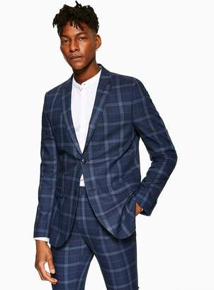 263d7e4aad2a TopmanTopman Blue Skinny Fit Check Single Breasted Blazer With Notch Lapels