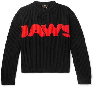 Calvin Klein Jaws Distressed Intarsia-Knit Sweater