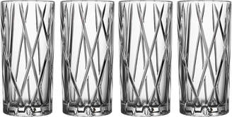 """Orrefors Crystal Highball Glasses """"City"""" (Set of 4)"""