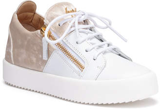 Giuseppe Zanotti White leather and velvet sneakers