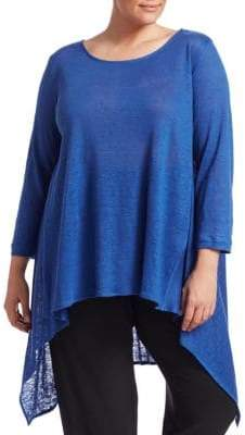 Caroline Rose Wild Card Knit High-Low Linen Tunic