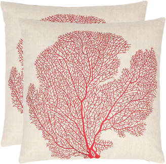 Safavieh Set Of 2 Spice-Fan Coral Pillows