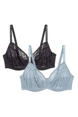 H&M 2-pack Underwire Bras E/F Cup - Dusky blue/black - Women