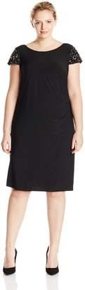 Eliza J Women's Plus-Size Cap Sleeve Dress with Side Ruching