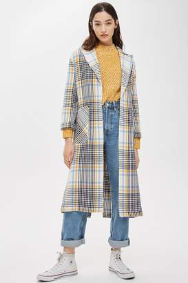 Topshop TALL Blanch Check Duster Coat
