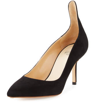 Francesco Russo High-Back Suede 75mm Pumps, Black