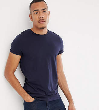 Asos Design DESIGN Tall t-shirt with crew neck and roll sleeve in navy
