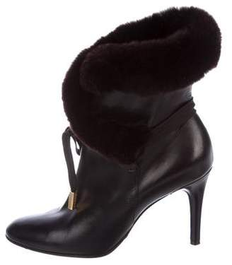 Dolce & Gabbana Fur-Trimmed Leather Booties