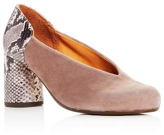 Chie Mihara Women's Ante Amazon Suede & Snake Embossed Leather Block-Heel Pumps kpp11W1ba