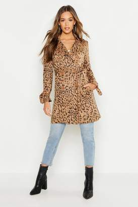 boohoo Suedette Leopard Print Belted Trench