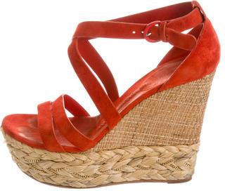 Casadei Suede Wedge Sandals $85 thestylecure.com