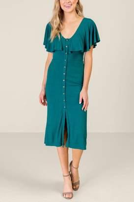 francesca's Francescas Viola Ruffle Top Button Dress - Forest