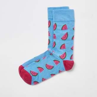 River Island Blue watermelon print socks