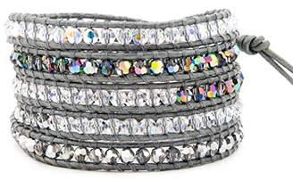 Chan Luu Grey Crystal Mix Wrap Bracelet/Grey Leather- BS-2257